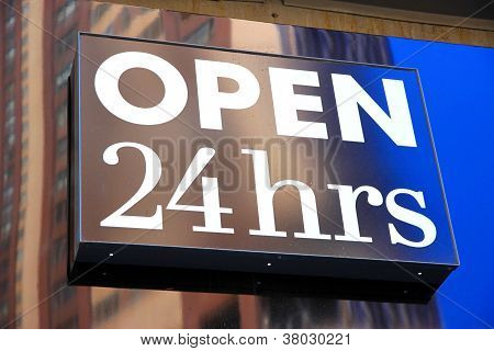 24 Hours Open Sign