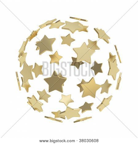 Sphere Composition Made Of Golden Stars Isolated