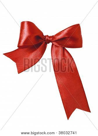 Festive Red Bow Made Of Ribbon