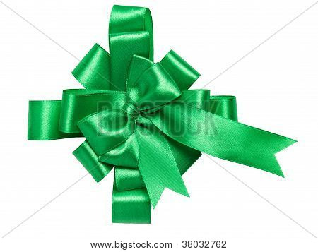Festive Green Bow Made Of Ribbon