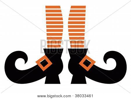 Cartoon Witch Legs Isolated On White