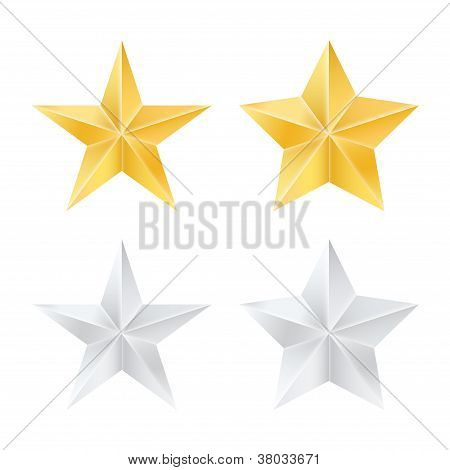 Set Of Golden And Silver Stars. Vector Illustration