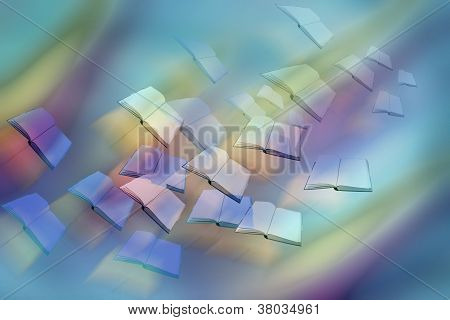 Floating Books On Rainbow Background