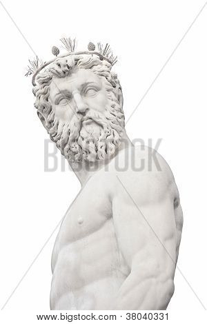 Neptune God Medieval Fountain Statue Detail On White. Florence, Italy.