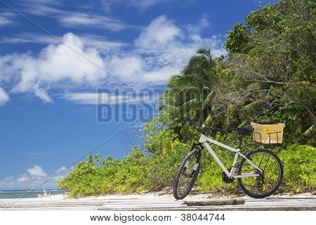 The Island Of Dreams. Rest And Relaxation. Bicycle On Moorage.