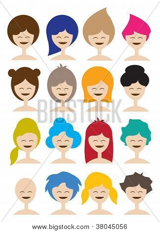 Woman In Different Hairstyle