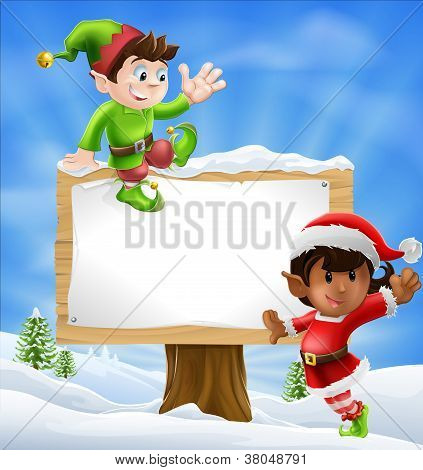 Christmas Characters And Sign