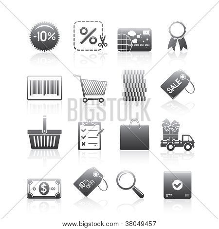 Shopping Icons Set Silhouette Series