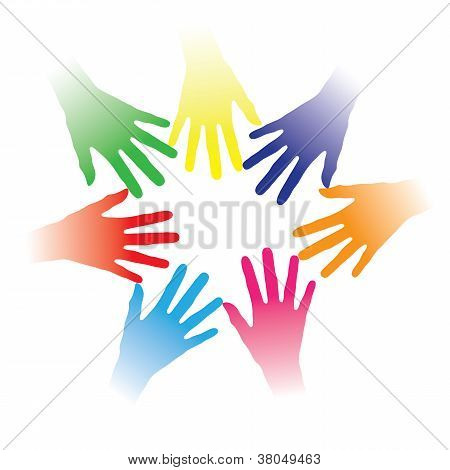 Concept Illustration Of Colorful Hands Held Together Indicating Social Networking, Team Spirit, Peop