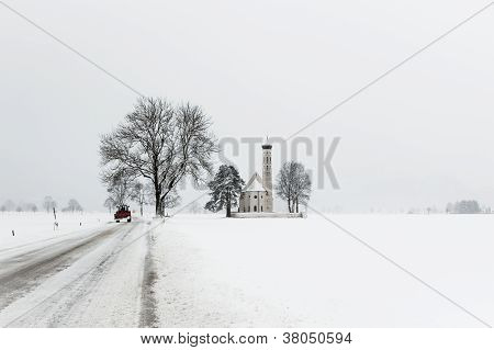 Winter Landscape With Church In Germany