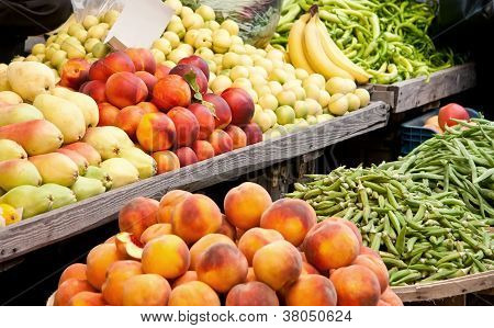 Fresh Organic Fruits And Vegetables At A Street Market