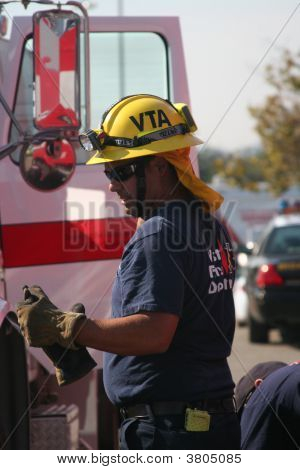 Firefighter Coming Back From Fire Area
