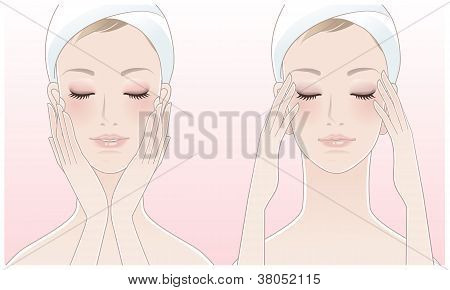 Beautiful young woman touching her face and pressing temples