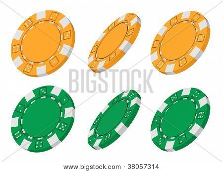 3D Rendered Yellow And Green Casino Chips From Different Angles