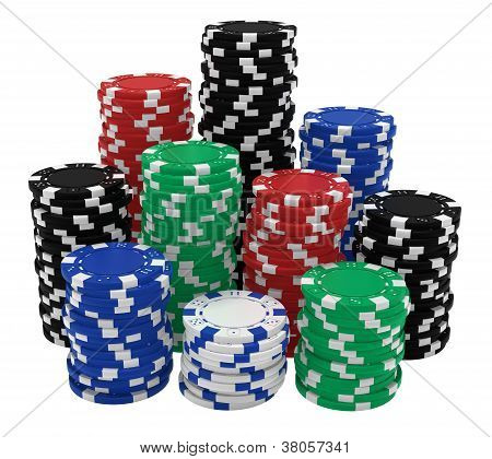 Large Stacks Of Colorful Casino Chips Isolated On White