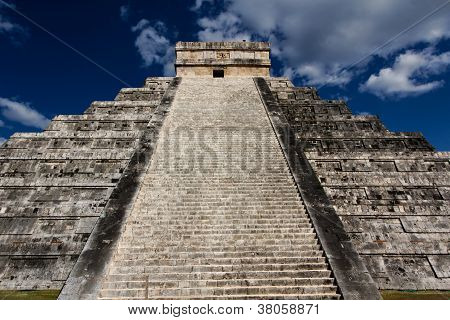 Stairs Of Kukulkan Pyramid At Chichen Itza