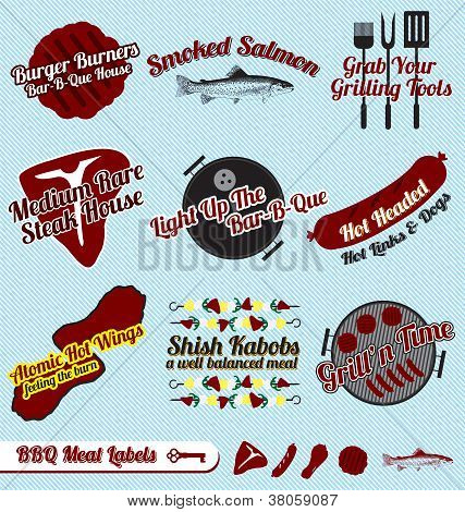 Vector Set of BBQ Labels and Icons