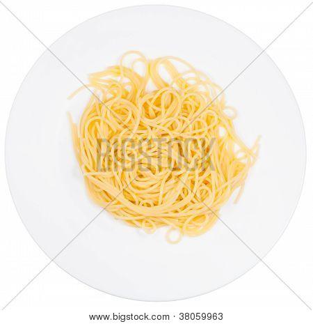Top View On Spaghetti Al Burro On Plate