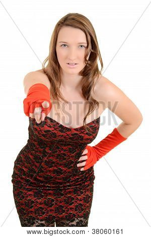 young teen fashion model pointing finger at you