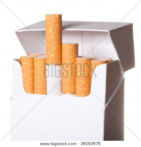 Pack Of Cigarettes Isolated On White Background