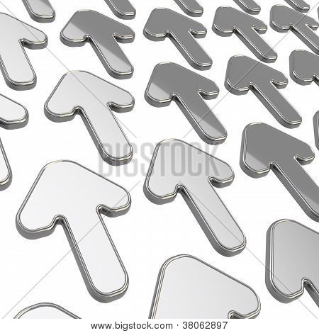 Group Of Arrows Over White As Abstract Background