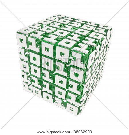 Cubo tridimensional compuesta de unos y ceros aislados en blanco