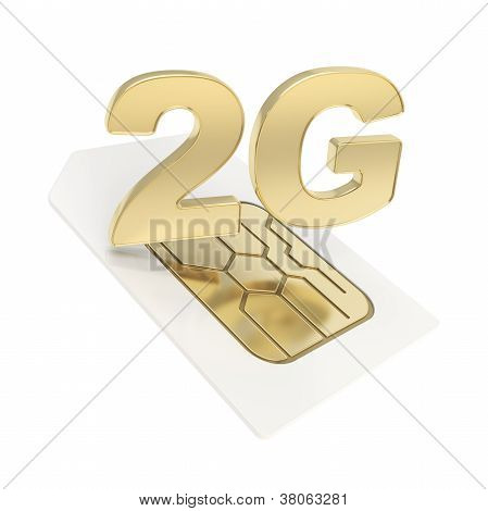 3G Circuit Microchip Sim Card Emblem Isolated