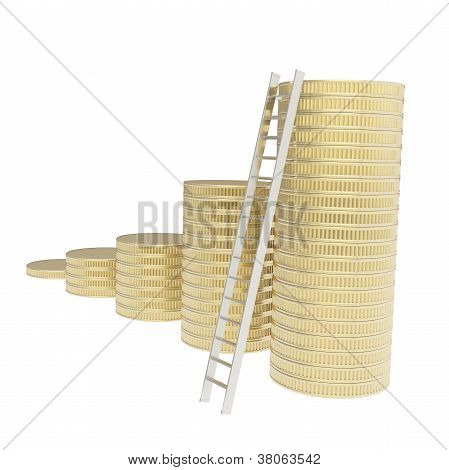 Stair Ladder And Stack Of Coins Isolated