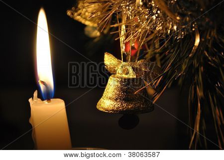 Candle With Campanula, New Year's Still Life