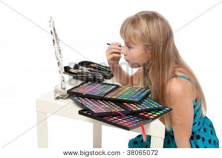 Little Girl Paints His Face Makeup