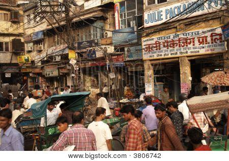Crowded Street Scene In Old Delhi