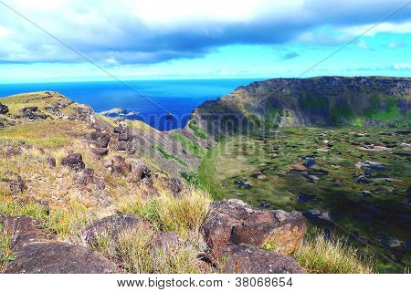 Rano Kao volcano crater and Birdman island,  Easter Island, Chile