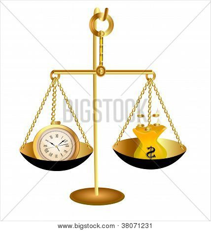 Of Clock Time Money Dollar On Scales