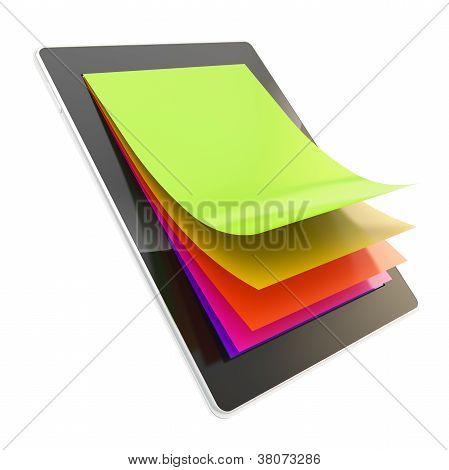 Touchpad-elektronisches Gerät mit Papierseiten als Bildschirm