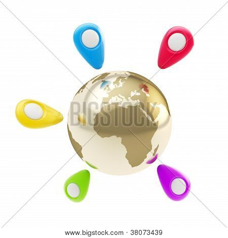 Geo Tag Emblems Around Earth Globe Isolated