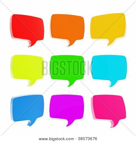 3D Text Speech Bubble Emblems Isolated