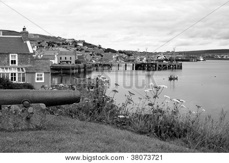 A View Of Stromness From The Sea (black And White)