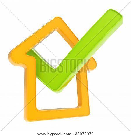 aufgegebenes Haus Emblem mit Ja-Tick-Symbol in