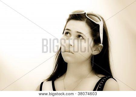 Sepia girl dreaming