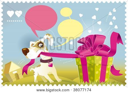 Dog opening a gift