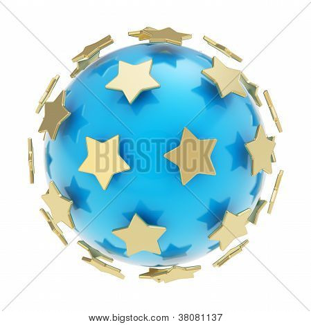 Golden Stars Around Glossy Sphere Isolated
