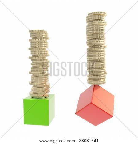 Coin Stacks Over Green And Red Cubes Isolated