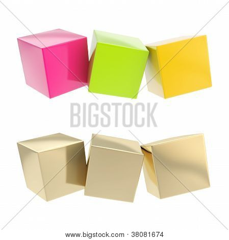 Three Cube Copyspace Text Plate Composition