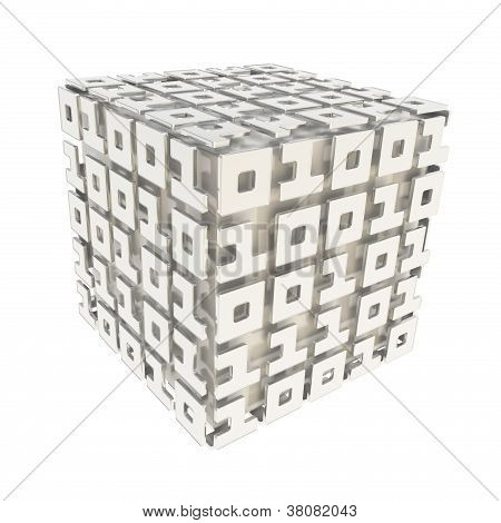 Dimensional Cube Made Of Ones And Zeros Isolated On White
