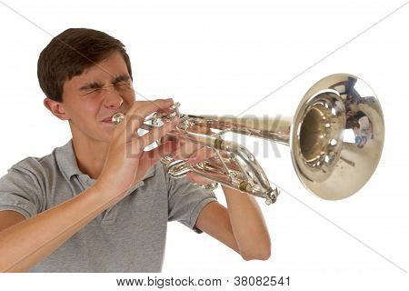 Boy Playing A Silver Trumpet