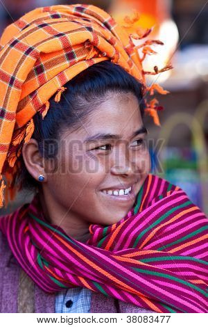 Pa-O tribe woman, Myanmar