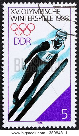 Postage Stamp Gdr 1988 Ski Jumping