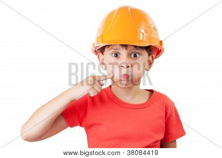 Little Girl In A Protective Helmet