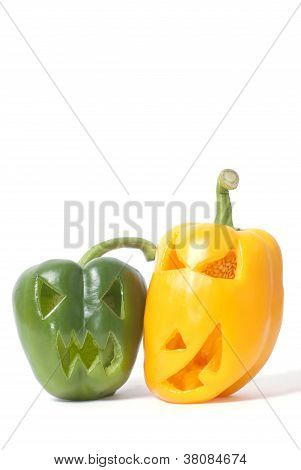 Jack-o-lanterns Made Out Of Vegetables