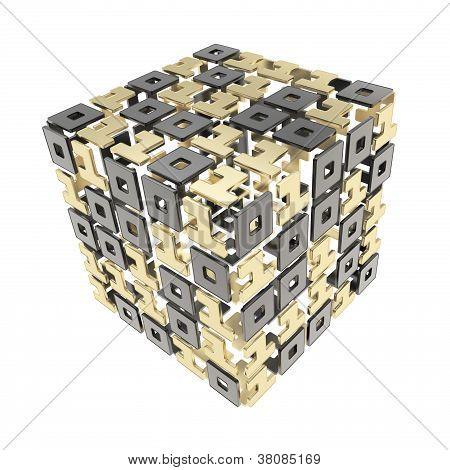 dimensionale Würfel hergestellt aus Einsen und Nullen, die isoliert auf weiss